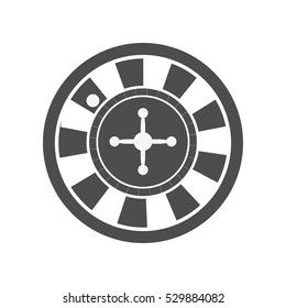 Roulette vector in monochrome, black. Classic casino play-roulette with ball. Illustration for gambling industry, sport lottery services, icons, web pages, logo design. Isolated on white background.