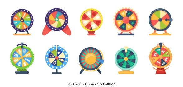 Roulette wheel fortune gaming, jewelry, with bonuses horoscope money set vector. Game icons casino roulette of chance. Gaming wheels of fortune for casino, web game. Try success, win prize vector