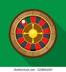 Roulette wheel fortune icon vector flat design.