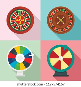 Roulette wheel fortune money icons set. Flat illustration of 4 roulette wheel fortune money vector icons for web