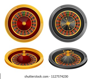 Roulette wheel fortune spin game mockup set. Realistic illustration of 4 roulette wheel fortune spin game mockups for web