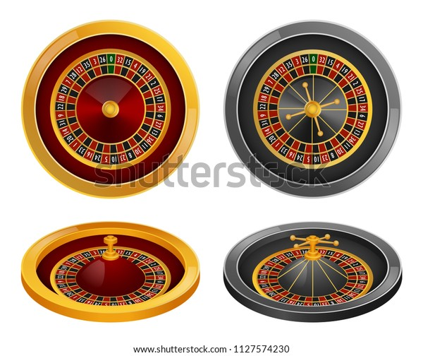 Roulette Wheel Fortune Spin Game Mockup Stock Vector Royalty Free