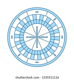 Roulette Wheel Icon. Thin Line With Blue Fill Design. Vector Illustration.