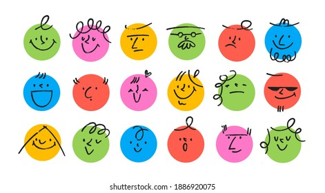 Round abstract comic Faces with various Emotions. Crayon drawing style. Different colorful characters. Cartoon style. Flat design. Hand drawn trendy Vector illustration. Every face is isolated