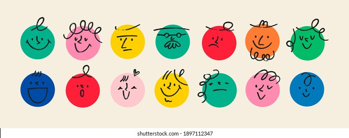 Round abstract comic Faces with various Emotions. Crayon drawing style. Different colorful characters. Cartoon style. Flat design. Hand drawn trendy Vector illustration. - Shutterstock ID 1897112347