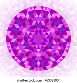 Round abstract geometrical triangle kaleidoscopic mandala design symbol - symmetric vector pattern art from colorful triangles