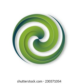 Round abstract green spiral lines, symbol of movement, concentration, unity, energy. Can be used as corporate logo, for eco project, web-icon. Vector, isolated.