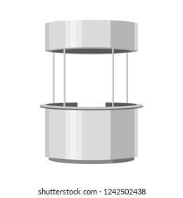 Round Advertisement POS POI. Retail Stand Stall Bar Display With Roof Canopy Banner. Slender white. Mock Up Layout template. Vector illustration. Isolated, on a white background.