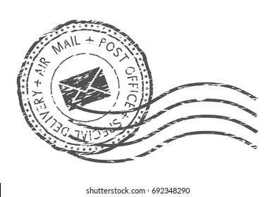 Round air mail black postmark with envelope sign. Vector illustration isolated on white background