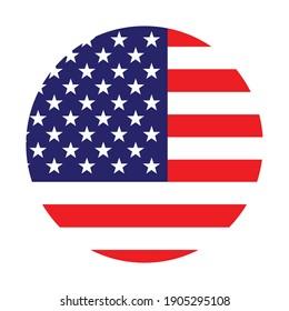 The round American flag. Star Spangled flag, American flag. Colorful national flag.digital illustration,computer illustration,vector illustration