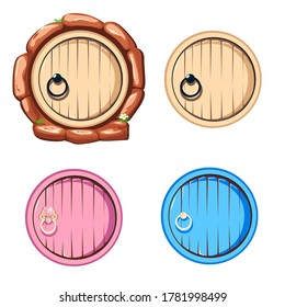 Round antique wooden door with a forged handle. Set of fairy doors isolated on white background.