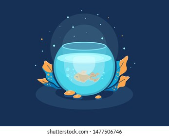 Round aquarium with gold fish and magical plants. Dark picture with lighting. Vector illustration isolated on background. Fish bowl.