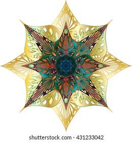Round arabesque geometrical tessellation ornament or Ayyubid star, oriental arabic style. Indian holiday Lotus flower style shape. Greeting card holiday background element.