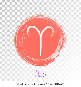 Round Aries zodiac symbol vector, hand painted coral color horoscope sign. Circle astrological icon isolated. Aries astrology zodiac sign clip art on transparent background.