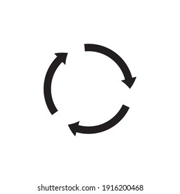 Round arrows in black, great design for any purpose. Abstract icon. Flat pattern with circular arrows in black on a white background. Up arrow button symbol. Simple illustration.