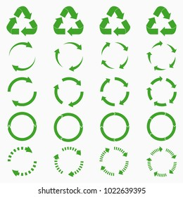 Round arrows set. Green circle recycle icons collections. Vector illustration.