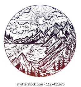 Round artwork with Wilderness landscape scene with a lake, road, pine forest and mountains. Vector illustration isolated. Vintage outdoors nature. Adventure artwork for travel and wanderlust tattoo.