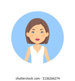 a round avatar: a female character / a portrait of a pretty young girl/woman; casual dress/look; cartoon style, childish, doll look; vector illustration, isolated, on blue background