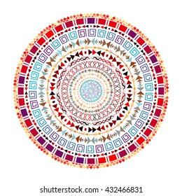 Round Aztec ornament. Decorative mandala with mix round ornaments. Bohemian style. Ornate medallion ethnic aztec pattern. Tribal ornament. Vector illustration.
