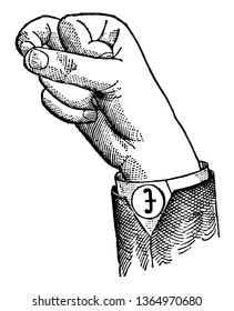 Round Back Primary Mid Vowel positions are distinguished by always having the voice phalanx of the thumb accented and in contact with the terminal phalanx of the accented finger, vintage line drawing