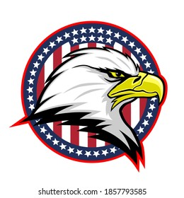 Round badge with American eagle and USA flag on white background.