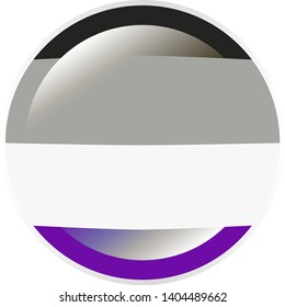 Round badge in colors of the asexual flag with flare / glare and silver frame, vector