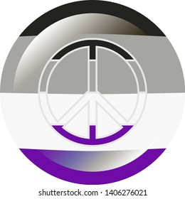 Round badge in colors of the asexual flag with flare / glare and same colored peace sign with grey stroke, vector