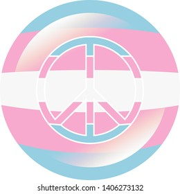 Round badge in colors of the transgender flag with flare / glare and same colored peace sign with white stroke, vector