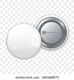 Round badge mock up front and back view. Isolated white blank button with pin template icon. Realistic badge frame on transparent background