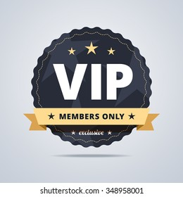 Round badge for VIP club members. Dark blue medal with a star shapes and decorative ribbon. Vector illustration.