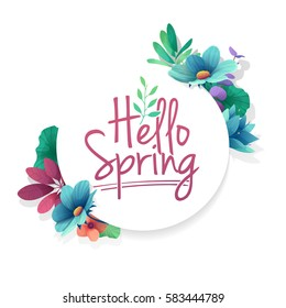 Round banner with the  Hello Spring logo.  Card for spring season with white frame and herb. Promotion offer with spring plants, leaves and flowers decoration.  Vector