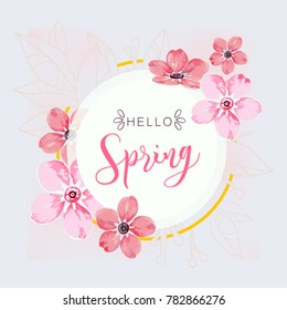 Round banner with the Hello Spring logo. Card for spring season with white frame and herb, promotion offer with spring plants, leaves and pink flowers decoration on light blue background.