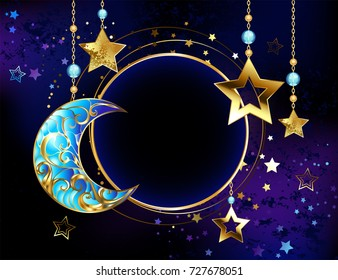 Round banner with jewel crescent and gold stars on gold chains on luminous cosmic background.