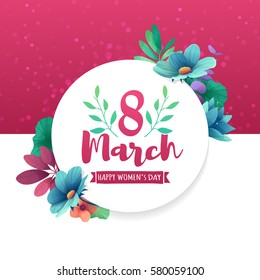 Round banner with the logo  for the International Women's Day on pink background. Flyer for March 8 with the decor of flowers. Invitations with frame of spring plants, leaves and flowers. Vector.
