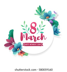 Round banner with the logo  for the International Women's Day. Flyer for March 8 with the decor of flowers. Invitations with frame of spring plants, leaves and flowers. Vector