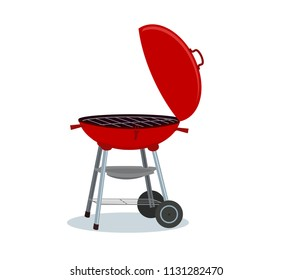 Round barbecue grill. Bbq icon. Electric grill. Device for frying food. Vector illustration.