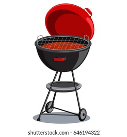 Round barbecue grill with hot coals. Vector cartoon illustration isolated on white background. BBQ icon.