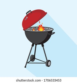 round barbeque grill, BBQ icon, device for grilling food