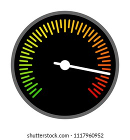 Round barometer or speed gauge indicator flat vector color icon for apps and websites