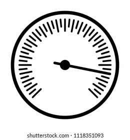 Round barometer or speed gauge indicator line art vector icon for apps and websites