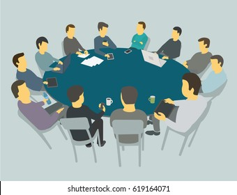 Round big table talks. Team business people meeting conference many people.