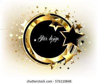 Round, black banner with polygonal frame, decorated with gold and black stars on light background.