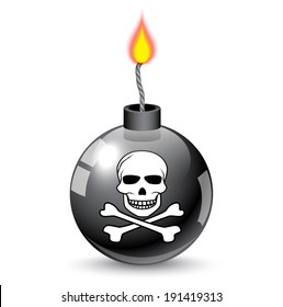 round black bomb with a burning fuse and a jolly roger image.