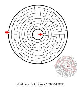 Round black labyrinth on white background. Children maze. Game for kids. Children puzzle. Help find a way out