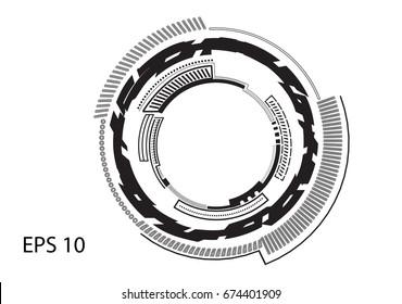 Round black logo on white background, line