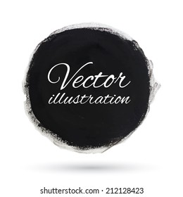 Round black watercolor banner. Stain. Vector illustration