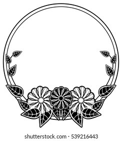 Round black and white frame with abstract decorative flowers. Copy space. Vector clip art.