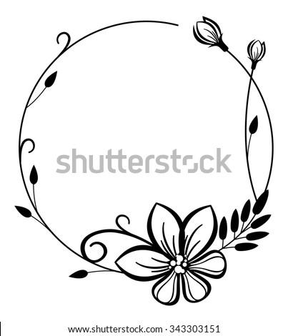 Round Black White Frame Flowers Stock Vector Royalty Free