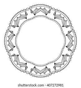 Round black and white frame in Oriental style with elements of the mandala.