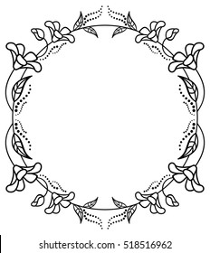 Round black and white frame outline decorative flowers. Copy space. Vector clip art.